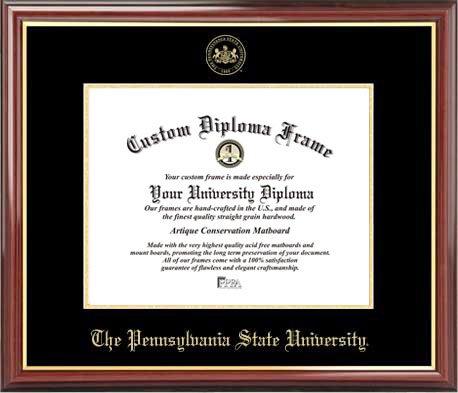 (Laminated Visuals Pennsylvania State University Nittany Lions - Embossed Seal - Mahogany Gold Trim - Diploma)