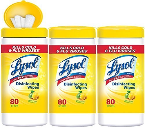 Lysol Disinfecting Wipes Value Pack, Lemon & Lime Blossom, 240 Wipes (3 Packs of 80 Wipes) by Lysol Disinfecting Wipes