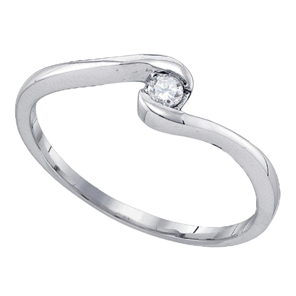 Small Diamond Ring Solid 10k White Gold Promise Band Curve Bridal Style Classic Polished Fancy 1/12 ctw