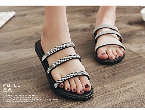 sandals bottom flat LIUXINDA soft slippers Cool fashionable Black beach XZ tide Summer bottomed shoes skid and women's proof nOIpOq