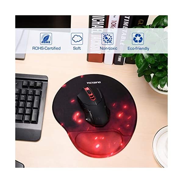 VicTsing Mouse Pad, Ergonomic Mouse Pad with Gel Wrist Rest, Gaming Mouse Pad with Non-Slip Pu Base for Computer, Laptop…