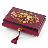 Gorgeous Red Wine Instrument and Floral Wood Inlay Musical Jewelry Box HUGE SALE - Rock of Ages - Christian Version