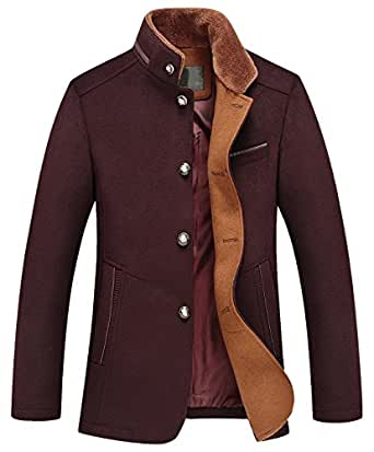 chouyatou Men's Gentle Band Collar Single Breasted Wool Blend Pea Coat (10Dark Red, X-Small)