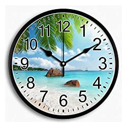 LI-LOVE Silent Non Ticking Quartz Hanging Round Wall Clock Large Plastic Frame with Glass Cover Ocean Beach Palm Arabic Numeral Battery Operated Decorative Decor Living Room/Bedroom/Kitchen 10 Inch