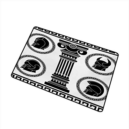 (duommhome Door mat Customization Toga Party Patterned Circular Frames with Antique Accessories Spartan Classic Costume W24 xL35)