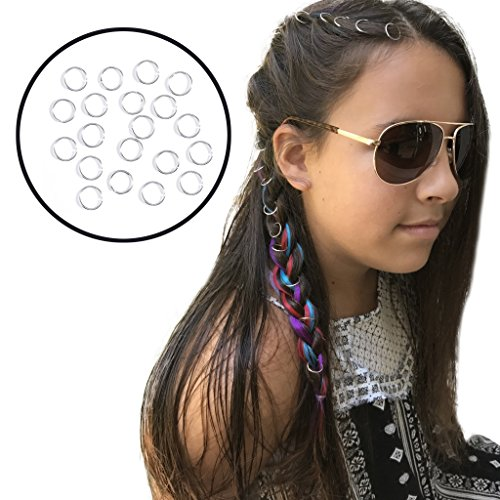 (Braid Rings for Hair and Dreadlocks, 20 pieces of Silver Loops Jewelry)