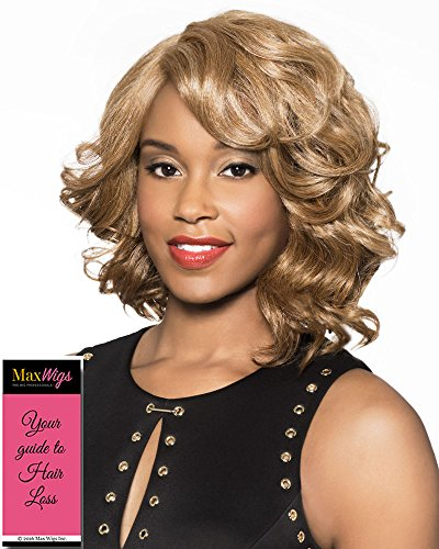 - Houston Wig Color 2 - Foxy Lady Wigs Mid-Length Wavy Bob Lace Front African American Womens Lightweight Average Cap Bundle w/MaxWigs Hairloss Booklet