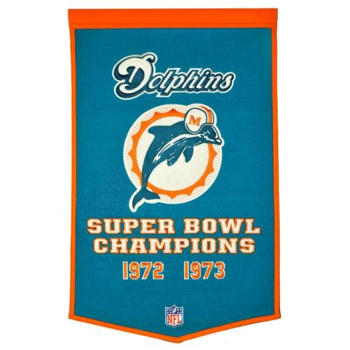 - Miami Dolphins Super Bowl Championship Dynasty Banner - with hanging rod