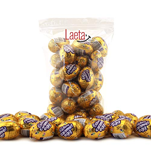 LaetaFood Easter Cadbury Caramel Egg Candy, Milk Chocolate Filled Creamy Caramel Candy , 1.2 Ounce Egg (42 Count Pack)