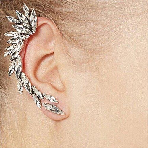 KeyZone 1x Womens Gorgeous Crescent Shaped Crystal Rhinestone Ear Cuff Clip