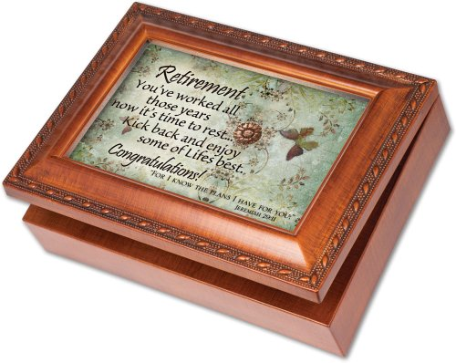 Cottage Garden Retirement Woodgrain Music Box / Jewelry Box Plays Amazing Grace