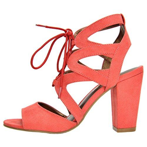 Women's Coral TOETOS High Sandals Heel Toe 03 Gladiator Open Chunky Stella Summer FpqnpW71