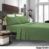TRIBECA LIVING Solid 5 oz Flannel Extra Deep Pocket Sheet Set, King, Green