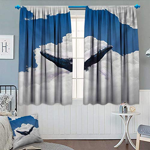 Animal Blackout Window Curtain Giant Creature of The Oceans Big White Whale Floats in Clear Open Sky Artwork Customized Curtains 55