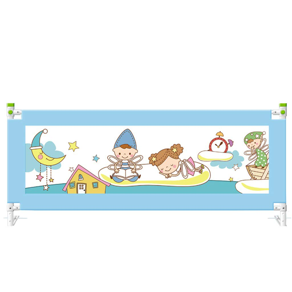 Extra Long BedRails, Vertical Lifting Bed Guard Safety Guard Infants Safety Guardrail with Double Locking Push Button Sturdy and Safety (Blue, Height:68~92cm)