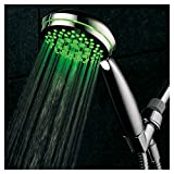 7 setting shower head - HotelSpa Neon Ultra-Luxury 7-setting LED Hand Shower with Chrome Face and Color-Changing Temperature Sensor