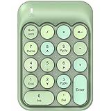 NACODEX AK18 2.4GHz Wireless Numeric Keypad, 18 Keys Retro Typewrite Round Key Silent Portable Number Pad for Date Entry for