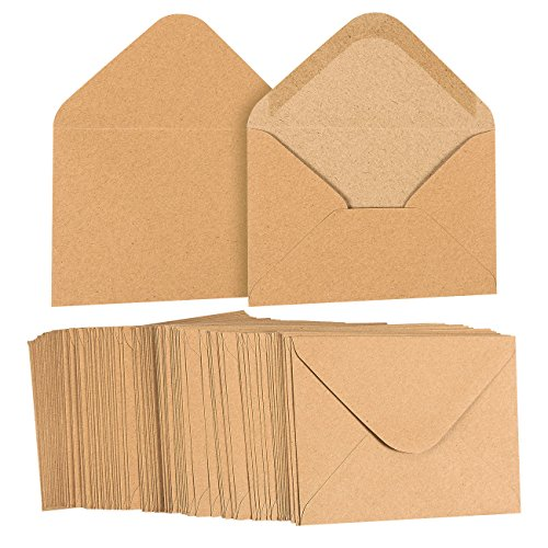 A2 Envelopes Bulk - 100-Count A2 Invitation Envelopes, Kraft Paper Envelopes for 5 x 4 Inch Wedding, Baby Shower, Party Invitations, V-Flap Photo Envelopes, Brown, 5.75 x 4.375 Inches