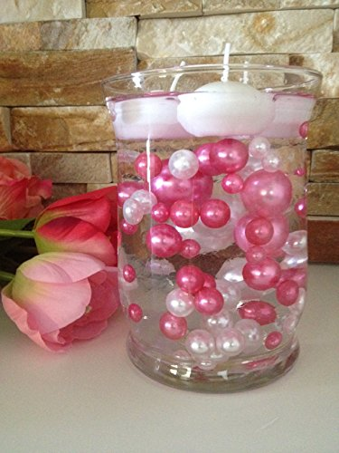 Vase Filler Pearls For Floating Pearl Centerpieces, 80 Pink & White Pearls Jumbo & Mix Size No Hole Pearls, (Transparent Gel Beads Required To Create Floating Pearls Sold separately) by Floating Pearls