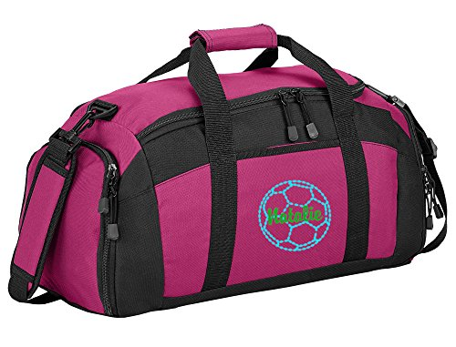 All about me company Personalized Soccer Gym Sports Duffel Bag (Tropical Pink)]()