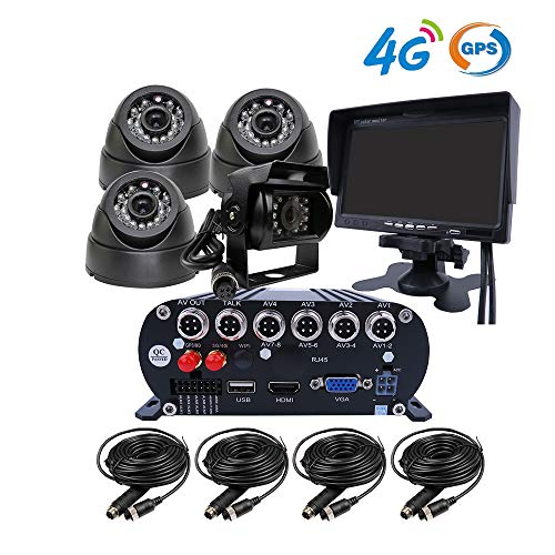 JOINLGO 4 Channel GPS Track 4G 1080P AHD Hard Disk Mobile Vehicle Car DVR MDVR Video Recorder Kit Real-time Monitor on PC Phone with 4 2.0MP Dome in-car Back Side Car Cameras 7 inches VGA Monitor
