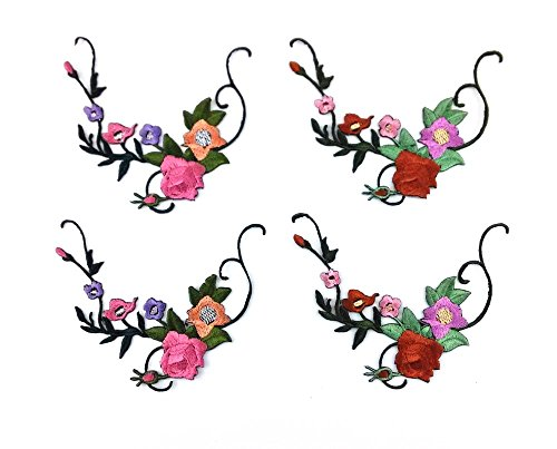 (Honbay 4pcs Little Flower Floret Vines Iron on Embroidery Applique Patch Sewing Craft Decoration)