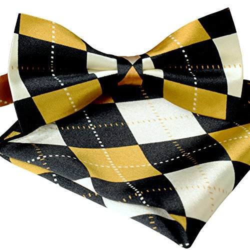 ST34 Brand new Silk feel SATIN Gold and Black Argyle Plaid Bow tie for Men Bow tie and Pocket square SET BB-1071 - Argyle Mens Tie