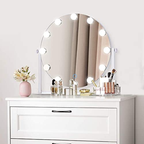 AI-LIGHTING Hollywood Lighted Vanity Makeup Mirror Light, Light-up Makeup Dressing Table Mirrors with Dimmable LED Light, Table Top Vanity Mirror