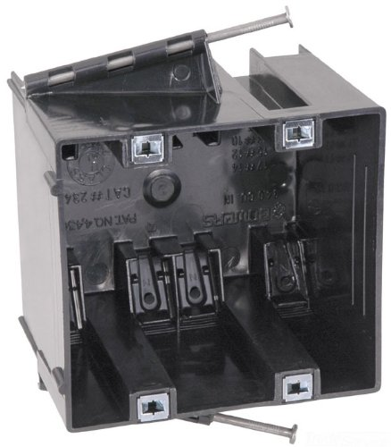 Carlon 234-NP Outlet Box, New Work, 2 Gang, 3-3/4-Inch Length by 4-Inch Width by 3-3/32-Inch Depth, Black
