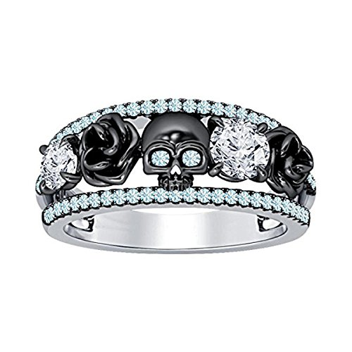 DreamJewels Belle Princess Black Rose Design Band Skull Ring 1.00 Ct Created Round Cut Created Aquamarine & White CZ Diamond 14K Two-Tone Gold Finish 925 Sterling Silver