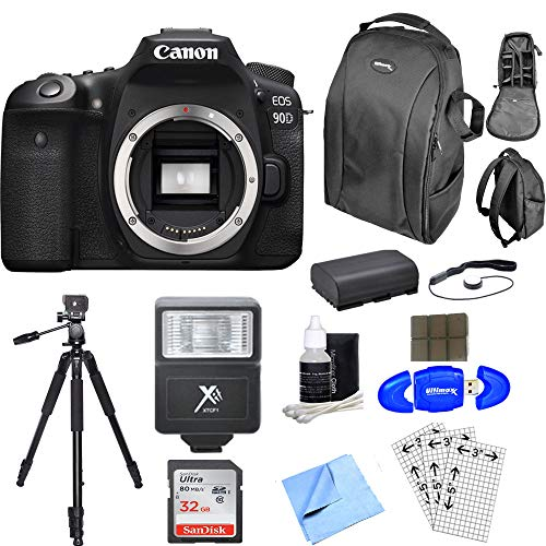 Canon EOS 90D DSLR Camera (Body Only) With 32GB Memory Card | DSLR Backpack | Spare Battery & More