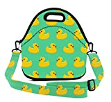 Insulated Lunch Bag - Fun Novelty Rubber Ducky - Waterproof Durable Lunch Box Carry Case with Adjustable Shoulder Straps, Reusable Soft Lunch Tote for Work & School