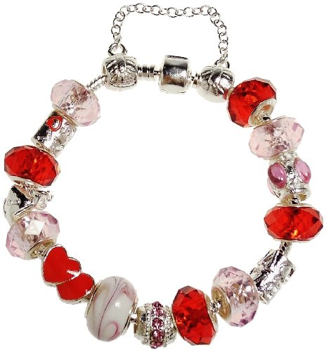 (Bracelet - Pink and Red Heart European Charm Bracelet Removable Charms - Kiki's Red Heart Bracelet)