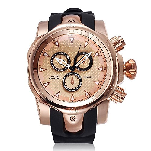 Fashion Quartz Wrist Watch Men Male Rose Gold Analog Silicone Band Big Face
