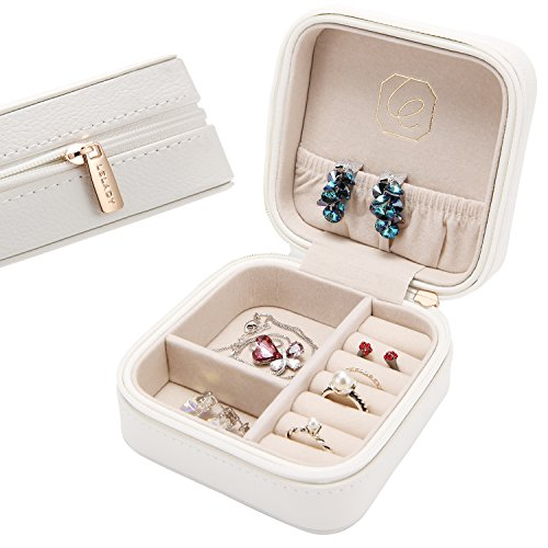 LELADY Small Jewelry Box Portable Travel Jewelry Case Organizer Faux Leather Storage Holder for Earrings Rings Necklaces, Gifts for Women Girls Mini Size (White) (Kids Earring Storage)