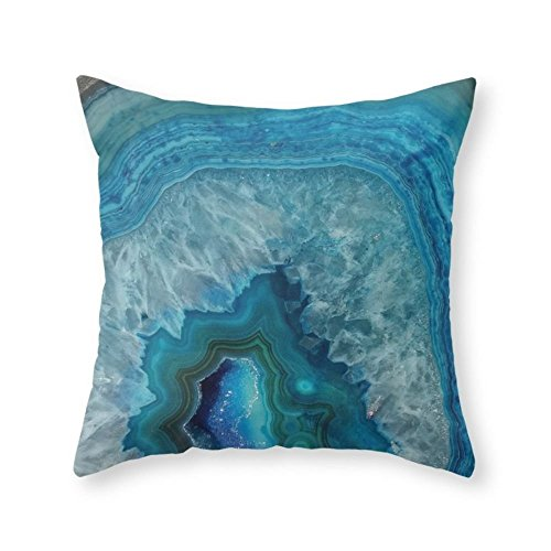 Sea Girl Soft Blue Faux Druse Crystal Quartz Gem Gemstone Geode Mineral Stone Science Specimen Photograph Hipster Throw Pillow Indoor Cover Pillow Case For Your Home(16in x 16in) (Quartz Bath)