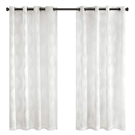 Gardinen Schals Voile Vorhänge mit Ösen Jacquard Wellenmuster Ösenschal Elegant Schlafzimmer Vorhang für große Fenster Adele