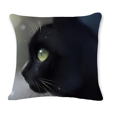Clearance. kavitoz gato negro Funda de cojín (lino y algodón cuadrado manta funda de almohada 45 cmx45 cm, B, Size:45cm*45cm/18*18