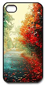 iPhone 5 5S Case, iCustomonline Red Maple Leaves Shell Back Case Cover Skin for iPhone 5 5S - Black