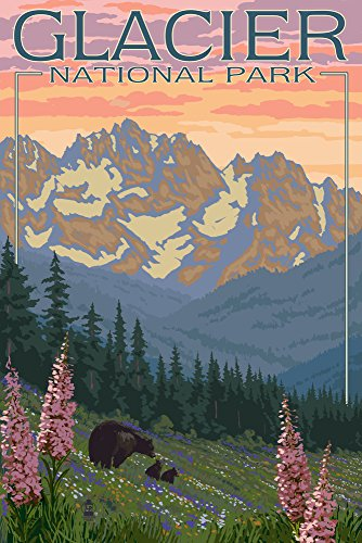 Glacier National Park, Montana - Bear and Cubs with Flowers (9x12 Art Print, Wall Decor Travel