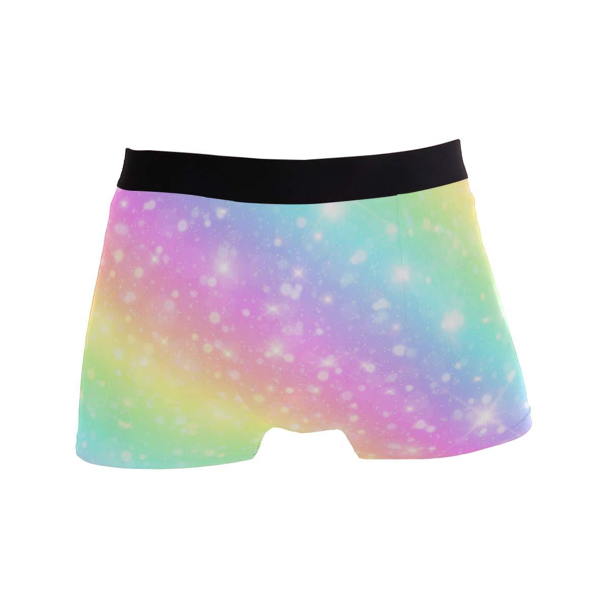 BETTKEN Mens Boxer Briefs Galaxy Rainbow Star Short Underwear Soft Stretch Underpants for Men Boys S-XL