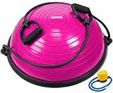 YOGU Balance Trainer Exercise Yoga Ball Trainer w/ 2 Resistance Bands & Pump (Pink)