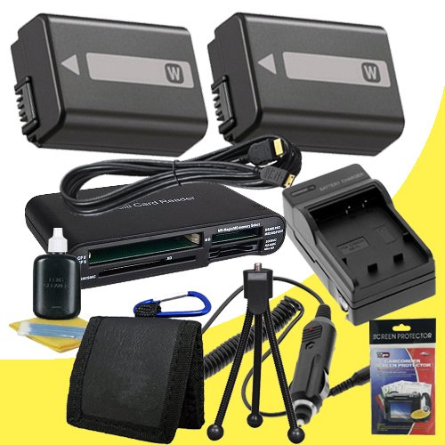 TWO NPFW50 Rechargeable Lithium Ion Replacement Battery w/External Rapid Charger + Mini HDMI Cable + Multi Card USB Reader + Memory Card Wallet + Deluxe Starter Kit for Sony NEX-5N NEX-7 NEX-C3 Alpha Digital SLR Cameras DavisMAX Accessory Bundle