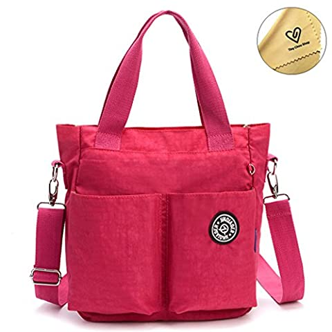 Tiny Chou Water Resistant Nylon Tote Style Handbag Cross body Bag Lightweight Mommy Bag-Plum - Sporty Travel Tote