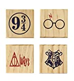 HP Hogwarts 9 3/4 Always Coaster Set (By Brindle Southern) Harry Potter Coaster Wooden Color Set