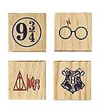 HP Hogwarts 9 3/4 Always Coaster Set (By Brindle Southern) Harry Potter Coaster Wooden Color Set