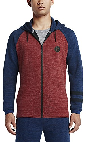 HURLEY (Nike) PHANTOM APEX ZIP FLEECE MEN'S Red Blue HOODIE (MFT0005990) (Large, Gym (Hurley Thermal Shirt)