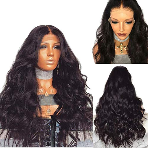 Brazilian Remy Human Hair Body Wave Lace Front Human Hair Wigs With Baby Hair Around Cap Middle Part Pre-Plucked Hairline,#1,8inches,130%