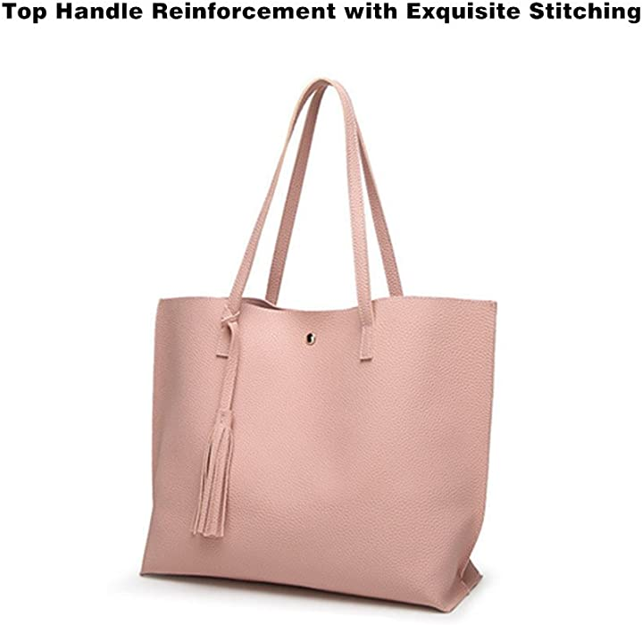 Amazon.com: Women Large Leather Tote Shoulder Bag Handbags ...
