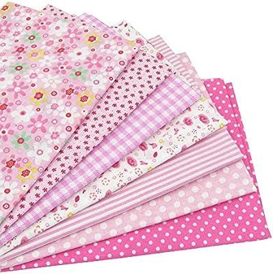 7 piezas 49cm * 49cm tela de algodón rosado para patchwork,telas ...